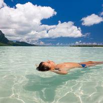 Child relaxing in Bora Bora