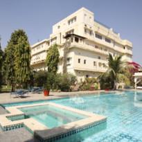 Pool at Samode Haveli, luxury hotel in India