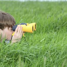 toddler with binoculars