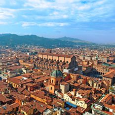 An aerial shot of Bologna