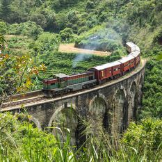 view at mountains and train in Ella in Sri Lanka