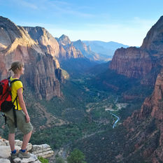 hiker view on zion national park