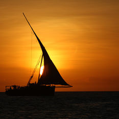 Tanzania dhow at sunset