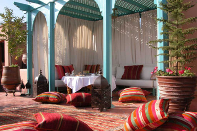 The roof terrace at Riad Kniza