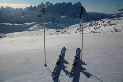 Skiing dolomites