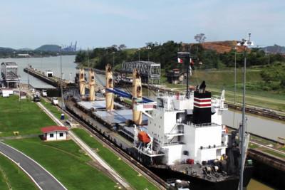 Ship at Panama Canal Lock in Panama City