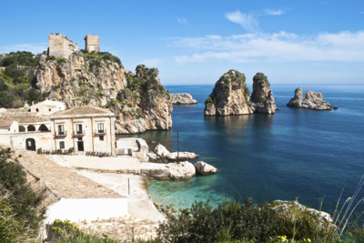 View of bay and coast line in Sicily