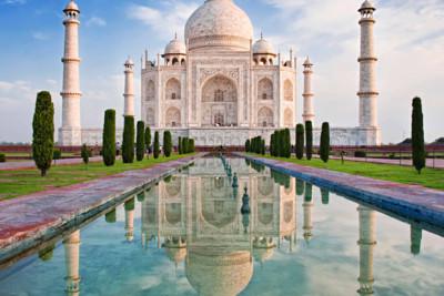 Reflection of Taj Mahal in Agra