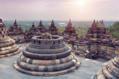view of temple in borobudur in java