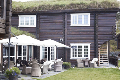 View of the exterior of the Storfjord Hotel in Norway