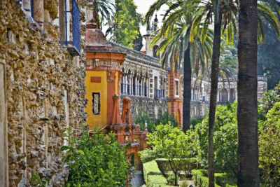 view of the architecture in the alcazar gardens in Seville