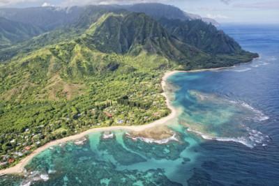 aerial view of napali coast in Kauai