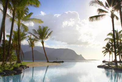 pool and palm trees on Kauai Island