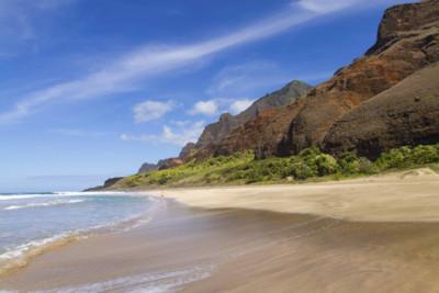 sandy beach and mountains