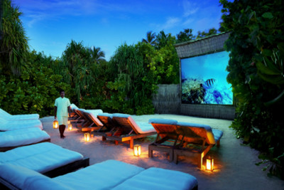 outdoor cinema at the Six Senses Laamu