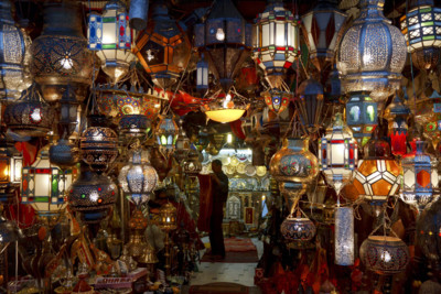 A Lighting Stall in Marrakech's Souq