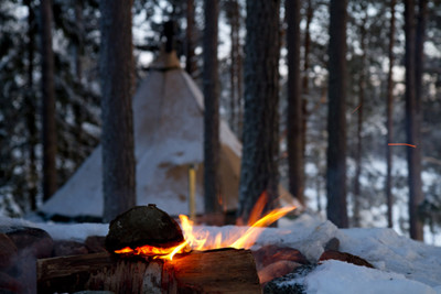 Camp Fire in Swedish Lapland