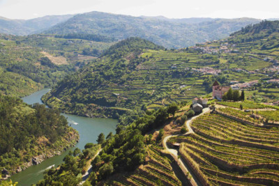 Aerial view across the Douro Valley