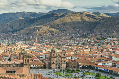 Aerial view over Cusco, Peru
