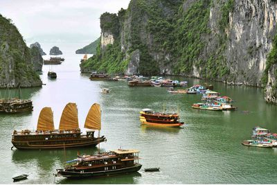Aerial view of boats in Halong Bay, Vietnam
