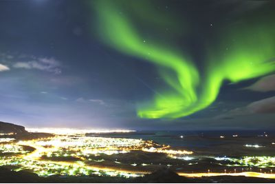 The Northern Lights in Reykjavik, Iceland