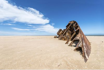 A rusty barge on El Barco Beach, Uruguay