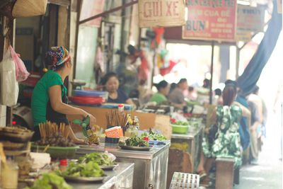 Street food market in Hanoi's Old Quarter