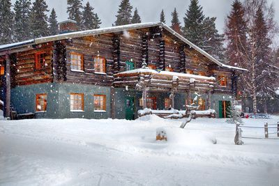 the snowy exterior of Brandon Lodge