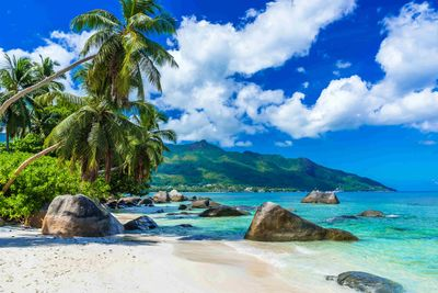 A tropical beach in Mahe, Seychelles