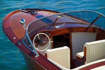 Wooden speedboat in Venice