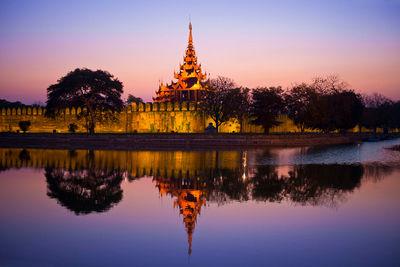 myanmar mandalay palace night