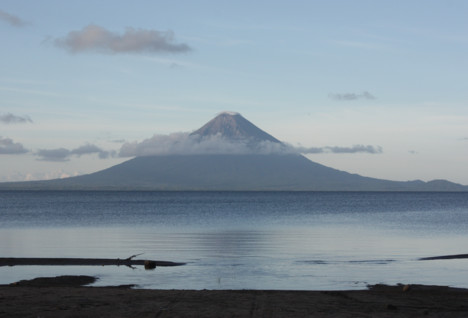 View of Ometepe across Lake Nicaragua