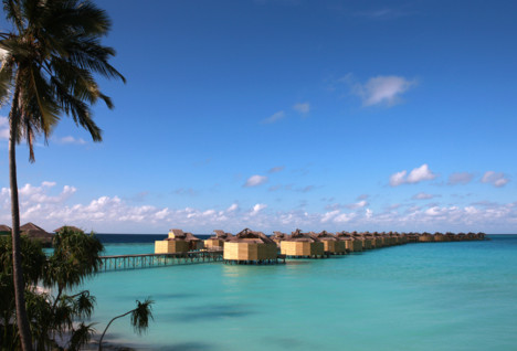 eco friendly water villas in the open ocean