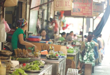food market in Hanoi, Vietnam