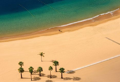 an empty beach in Tenerife from above