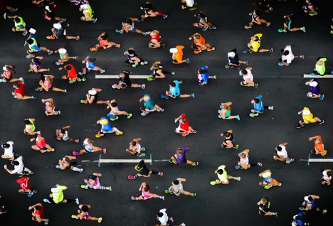 An aerial shot of a running event