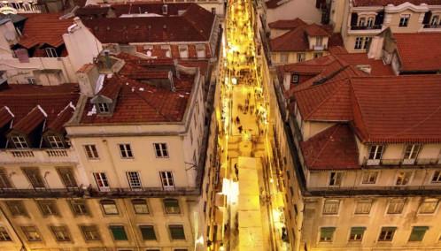 Aerial of Lisbon at night