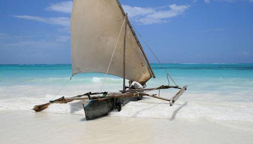 Zanzibar boat on beach