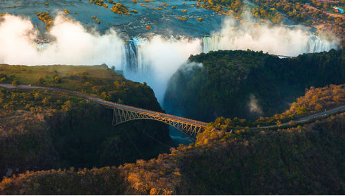 Aerial view of Victoria Falls and bridge