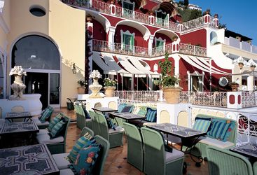 Terrace at the Le Sirenuse, luxury hotel in Italy