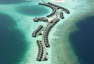 Aerial view of Constance Halaveli Resort, luxury hotel in the Maldives