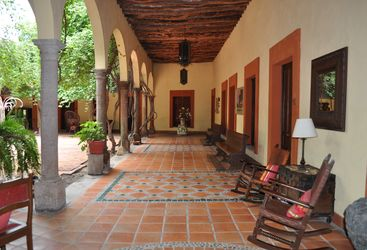 The terrace at Posada Hidalgo, luxury hotel in Mexico