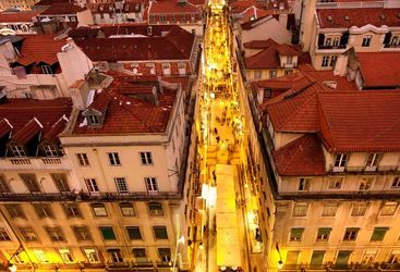 Aerial of Lisbon at night