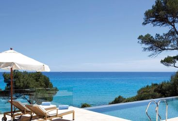 Sea view from hotel pool at Can Simoneta, luxury hotel in Spain