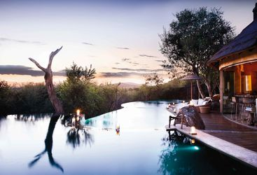 The exterior with pool at Molori Safari Lodge, luxury safari camp in South Africa