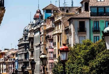 Brightly Painted Spanish Houses in Granada