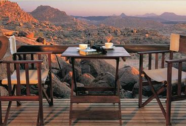 The terrace at Mowani, luxury Camp in Namibia