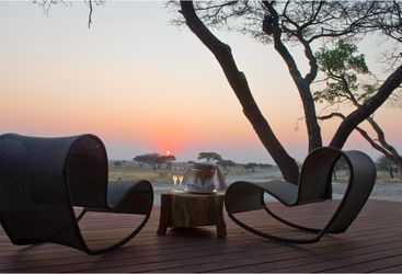 The sunset at Onguma, luxury camp in Namibia