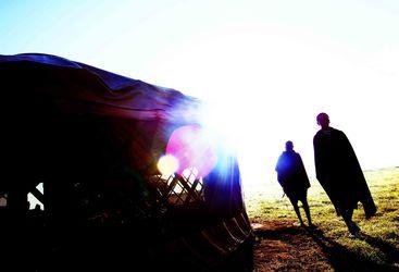 Masai and tents at Nduaro Loliondo, luxury camp in Tanzania