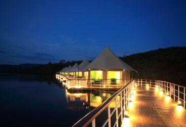 The outdoor at night at 4 Rivers Floating Lodge, luxury hotel in Cambodia